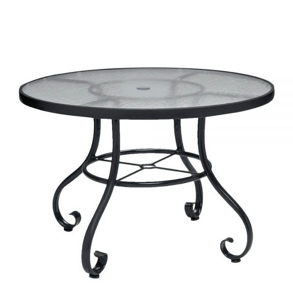 Round Obscure Gl Top Dining Table