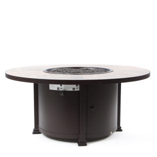 "54"" round chat height Santorini fire pit - Rustic Slate top"