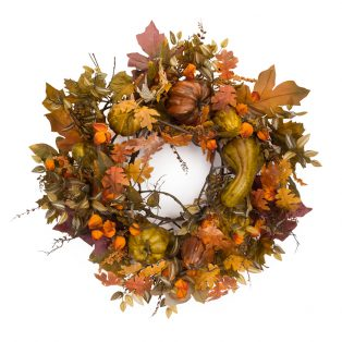 Oversize fall wreath w/ gourds and berries