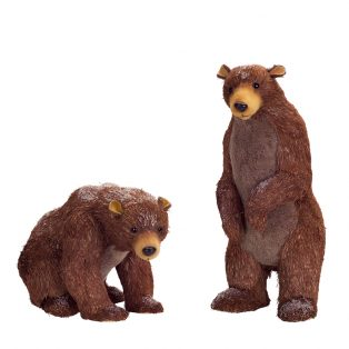 Sisal bears with snow (Set of 2)
