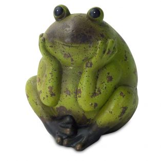 "Terracotta frog sculpture 10.5""H - Set of 2"