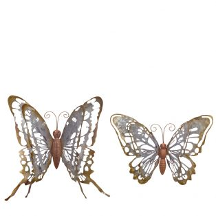 Metal wall butterfly - Set of 2
