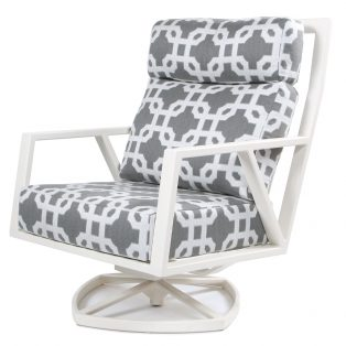 Aris swivel rocker lounge chair with an Oxford White finish