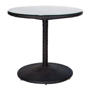 """Barlow 30"""" round wicker bistro table woven top with glass - shown with a Dark Roast finish"""