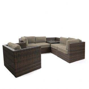 Bellanova wicker sectional group - Spectrum Mushroom