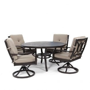 Bellevue 5 piece swivel rocker dining set with Sailcloth Shadow cushions