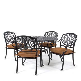Biscayne 5 piece dining set with Sunbrella Canvas Teak cushions