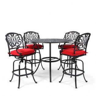 Biscayne 5 piece bar set with Canvas Jockey Red fabric