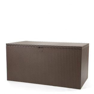 Outdoor storage deck box with an Espresso finish