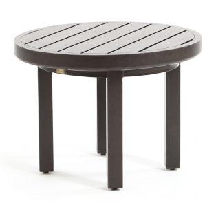 "Mallin aluminum 24"" round slat top outdoor end table"