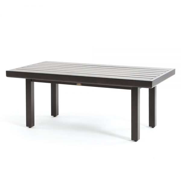 "Mallin 26"" x 48"" aluminum rectangle slat top coffee table"