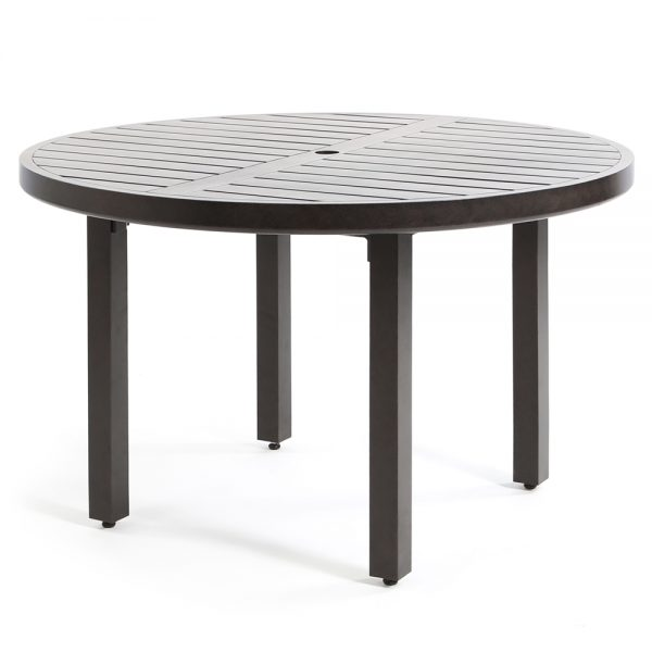 "Mallin 48"" aluminum round slat top dining table"