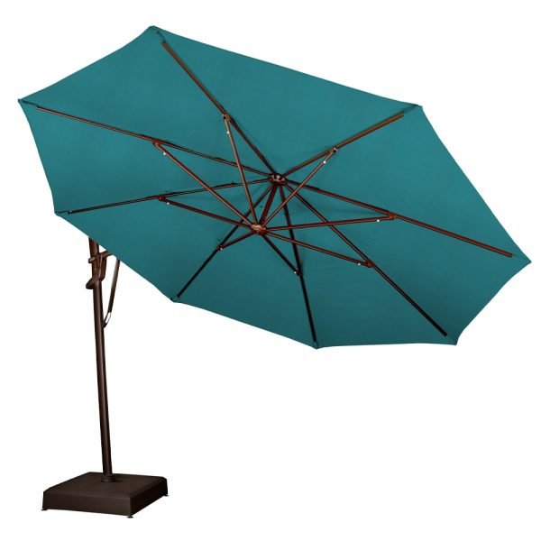 Cantilever umbrella rotated to the side