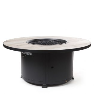 """54"""" Round Santorini fire pit with a Silver Oak top"""