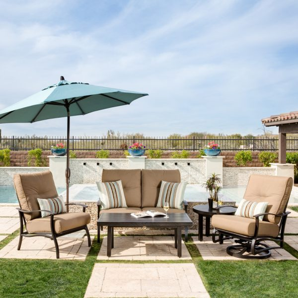Mallin Albany deep seating patio furniture with Spectrum Caribou cushions