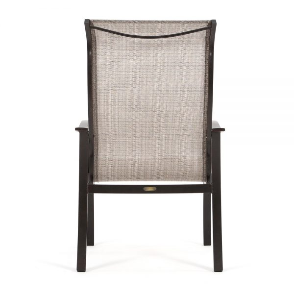 Albany aluminum high back patio dining chair back view