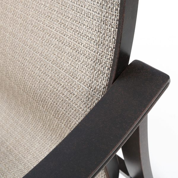 Mallin Albany sling dining chair with a aluminum frame and Autumn Rust powder coat finish