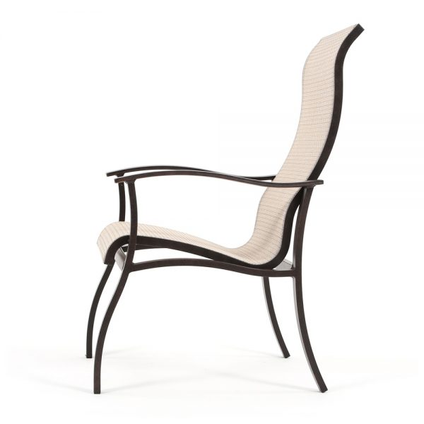 Albany sling patio dining chair side view