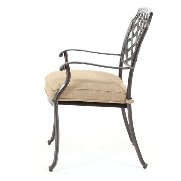 Heritage aluminum dining chair side view