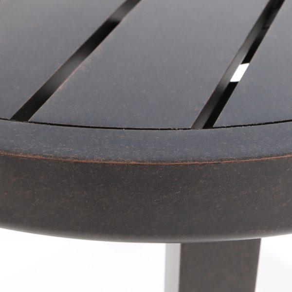 Mallin aluminum slat top end table Autumn Rust frame finish detail